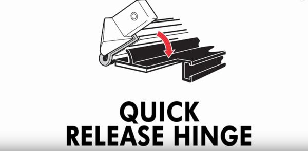 Quick release hinges