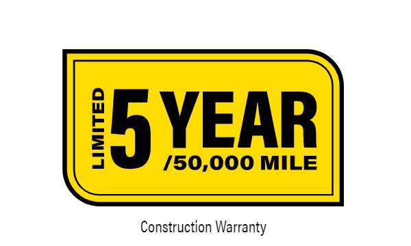 5-Year/50,000 Mile Limited Warranty