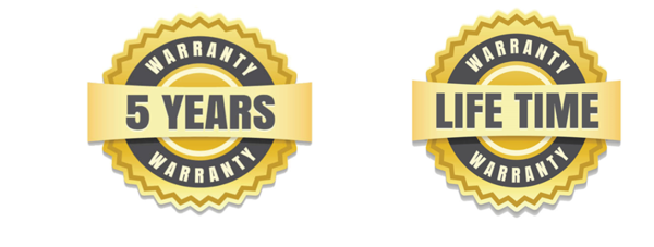 5-year limited warranty and Advantage lifetime warranty