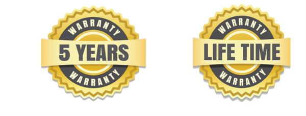 5-year warranty and limited lifetime warranty
