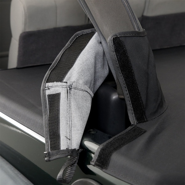 Tight fitBoots seal around roll bar with hook and loop fasteners