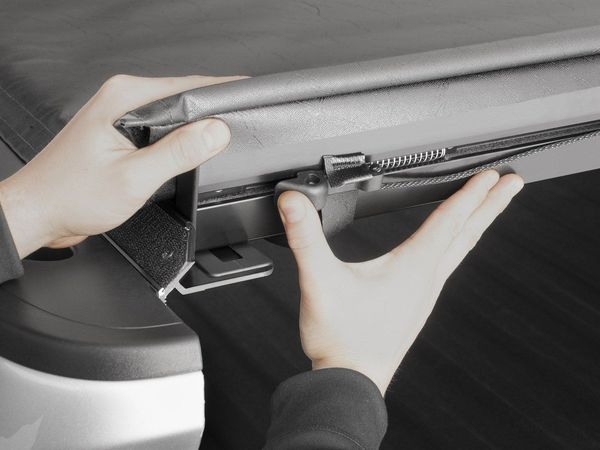 Weathertech soft roll up tonneau cover: auto latch dual automatic locking system