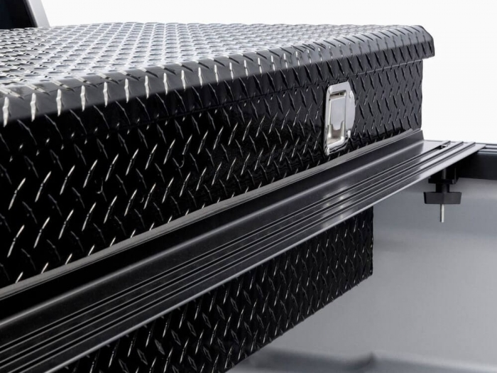 Patented design bridges gap between tonneau and toolbox for a perfect fit and rain drainage