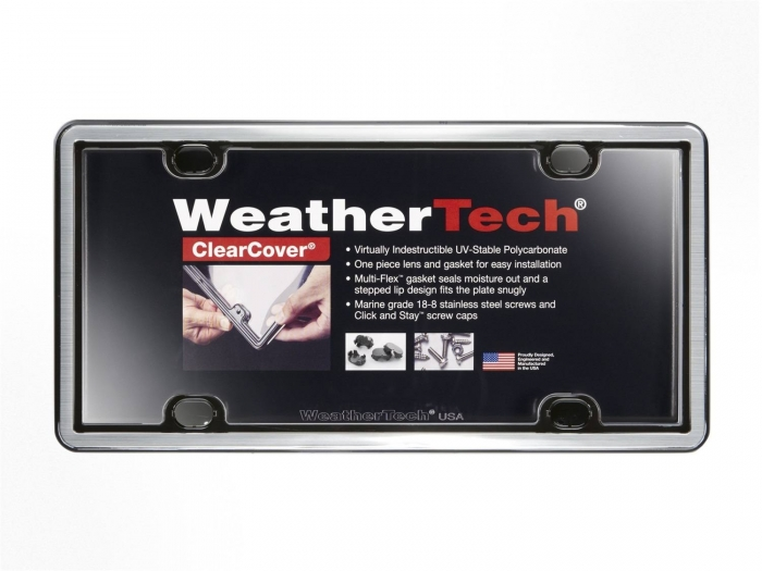 Brushed Stainless/Black - WeatherTech ClearCover License Plate Cover