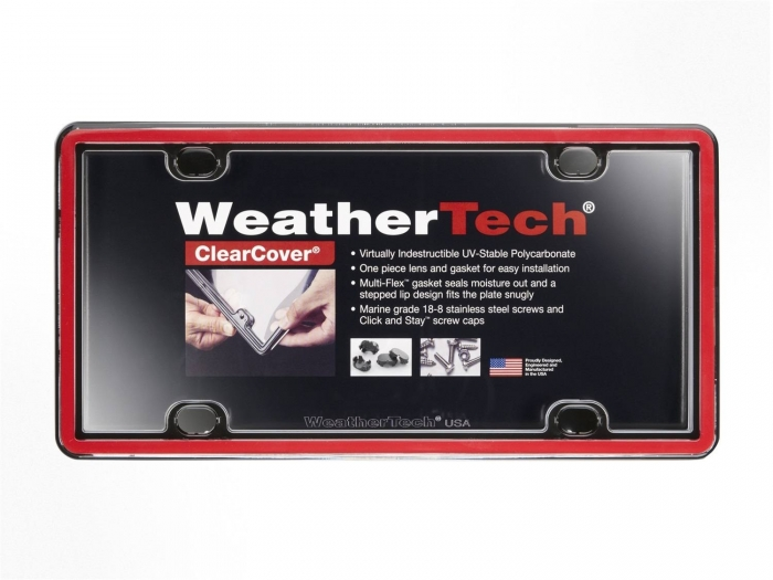 Red/Black - WeatherTech ClearCover License Plate Cover
