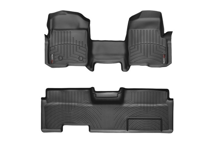 WeatherTech DigitalFit Floor Mats for 2009-2014 Ford F-150 [Covers Front & Rear, Black] (WEA95064)