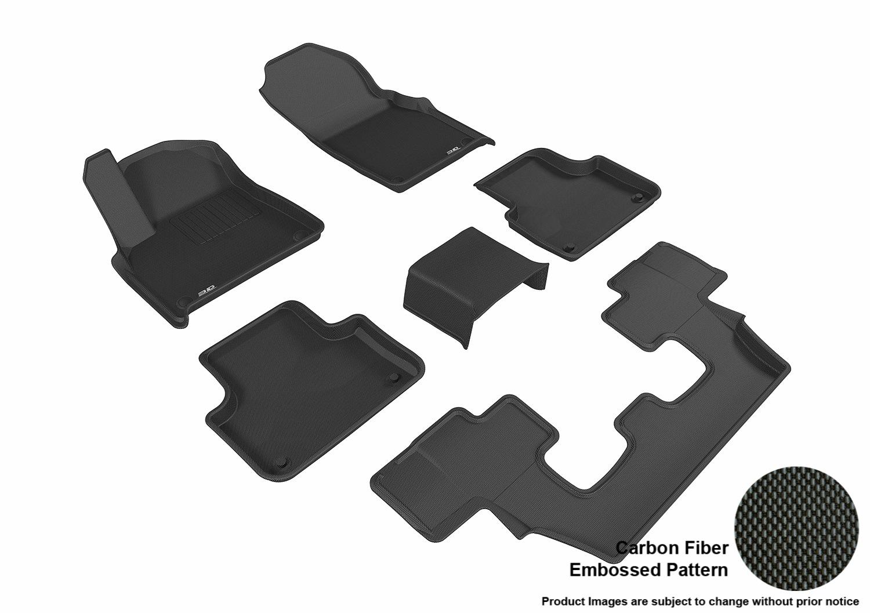 3D MAXpider L1AD02601509 Complete Set Custom Fit All-Weather Floor Mat for Select Audi Q7 Models Kagu Rubber Black